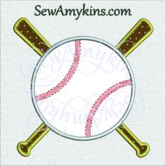 Baseball with Bat Applique machine embroidery design softball bat little league T ball 4 files - SewAmykins