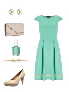 Simple and classy wedding outfit #dress #mint #nude #heels