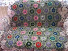 I want to try with yellow and black.  Colorful Bee Hive Afghan