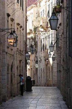 Quiet streets in Dubrovnik, Croatia