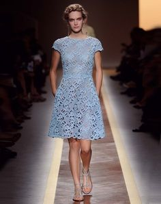 Valentino Spring 2012 Ready to Wear : Powder blue lace shift. Elegant for any occasion Lace Dress, Dress Up, Macrame Dress, Fashion Show, Fashion Outfits, Paris Fashion, Women's Fashion, Runway Fashion, High Fashion