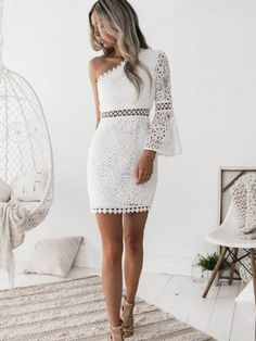 The white lace oblique shoulder sexy hollow bodycon mini dress with one see-through lace sleeve is so sexy and it is a good choice of fashion in summer. One Sleeve Dress, Bodycon Dress With Sleeves, Short Lace Dress, Short Dresses, Mini Dresses, Long Sleeve, Fitted Dresses, Dresses Dresses, Dress Lace