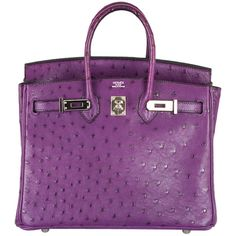 VERY SPECIAL HERMES BIRKIN BAG OSTRICH VIOLET PALLADIUM HARDWARE at... ❤ liked on Polyvore