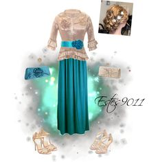"""""""Champagne & Teal"""" by estes9011 on Polyvore"""