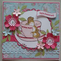 A055 Hand made Birthday card using Penny Black Tea Cosy Stamp