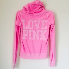 LOVE PINK ZIP UP HOODIE Cute hoodie. Good condition cute color. Missing string from hoodie. NO TRADES OFFERS WELCOME  PINK Victoria's Secret Sweaters