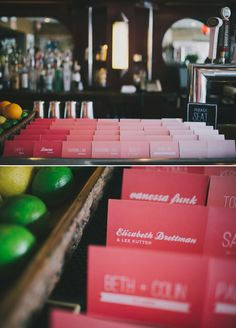 Ombre guest cards, love / Pink Chicago brunch wedding: Sarah + Jake | Real Weddings | 100 Layer Cake