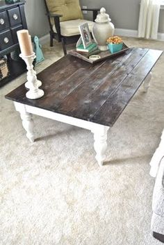 Restoring coffee table into a completely new look - removing the top of the coffee table, painting the base, adding natural wood.
