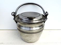 French Vintage Ice Bucket With Lid/Vintage Ice Bucket/Vintage Pewter Ice…