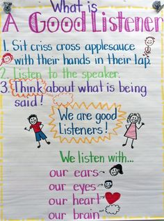 Good Listener anchor chart ~ Handy.  (Free make-it-yourself idea.)