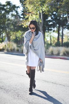 Grey Wrap / White Shirt Dress / Suede Over the Knee Boots