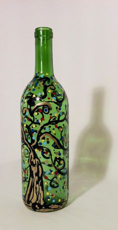 Hand Painted Glass Bottle Vase by SwirlyWorkz on Etsy, $20.00
