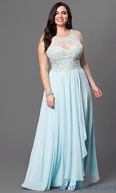 Lace Embellished Bodice Floor Length Sleeveless Plus Dress