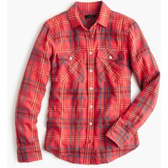 J.Crew Boyfriend Shirt (£42) ❤ liked on Polyvore featuring tops, shirts, 10. tops., button ups, long sleeve shirts, long tops, boyfriend shirts, roll top and red top