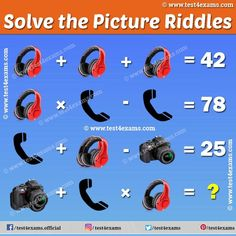 Only genius can solve the Headphone, Telephone, Camera puzzles. Get more challenging puzzles and riddles to visit here and improve your skills. Challenging Puzzles, Picture Puzzles, Maths Puzzles, Star Pictures, Brain Teasers, Riddles, Telephone, Improve Yourself, Mind Games