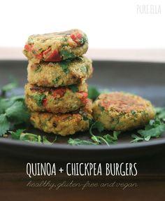 Pure Ella, Quinoa + Chickpea Burgers : gluten-free and vegan Vegan Gluten Free, Vegan Vegetarian, Vegetarian Recipes, Paleo, Healthy Recipes, Free Recipes, Vegan Food, Dairy Free, Veggie Recipes