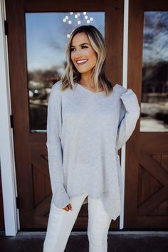 00bee53a651 Light Grey Soft Sweater - Dottie Couture Boutique Dottie Couture Boutique