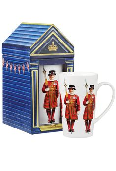 Part guard and part tourist attraction, these upstanding  gentlemen add color, dignity and historical drama to  Buckingham Palace, the Tower of London and your coffee and  tea times. Tall enough to allow for the Beefeater's long  halberd, each mug holds  12 3/4 oz. of your favorite warm brew. Fine china, from  the esteemed pottery of James Sadler, founded in 1882 in  Staffordshire, England. Dishwasher and microwave safe.  Guardhouse gift box.