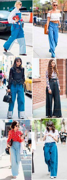 E se existe uma calça que também é dessa década, mas que só está reaparecendo nessa temporada, ela com certeza é a pantalona jeans. Ela fica super cool com camisa, cropped e camiseta.