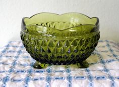Vintage Indiana Glass Green Footed Bowl by VintageByDollymae, $8.00