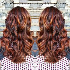 """""""Copper Highlighted Hotness from Hair Color Auburn, Auburn Hair, Brunette Hair Colors, Copper Highlights On Brown Hair, Fall Hair Highlights, Burgundy Highlights, Hair Color Balayage, Copper Balayage, Haircolor"""