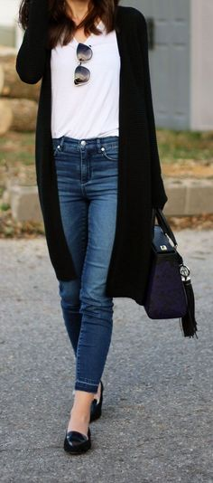Casual outfit by fashion blogger Marie's Bazaar. This long black cardigan is back in stock and for less than $60! Perfect with high waisted jeans, a white t-shirt and black loafers!