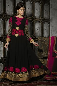 Presenting Black Faux Georgette #Anarkali #Suit with Embroidered,Patch Work and Stone Work Order Now@ http://zohraa.com/black-faux-georgette-anarkali-suit-28997.html Rs. 5,849.