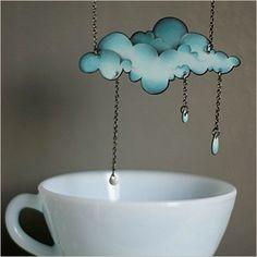 """Necklace """"Il pleut, il mouille""""-Mlle Héloïse-7 x 3.2 cm--Jewellery-Bucolic collection"""