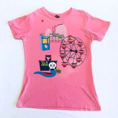 Paul Frank  Julius And Friends Pink Womans T- Shirt Size XL Amusement Park Theme #PaulFrank #GraphicTee