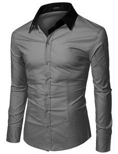 Men's Long Sleeve Point Collar Dress Shirt - Doublju #doublju #Mensfashion
