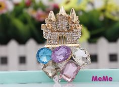 1 Piece Bling Gem Crystal Alloy Castle Accessories Stud Charm Kawaii Cabochon Deco Den on Craft Phone Case DIY Deco AA1333