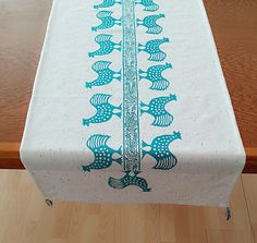 Turquoise Hand Blockprinted Cream Table Runner with Floral & Ethnic Animal Prints and Tassels Authentic Traditional Handcrafted Turkish by JIJIMA on Etsy