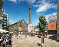 The Ram Quarter - Looking across the public realm towards the brewery museum and chimney (Greenland Group)