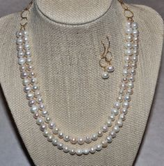 Beautiful Double Stranded Pearl & Gold by HHartsockDesigns on Etsy