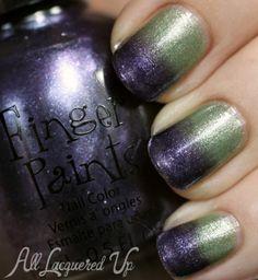 gradient ombre nail art fingerpaints pair affair ... FingerPaints A Grape Catch & Sage It Aint So from A Pair Affair by All Lacquered Up