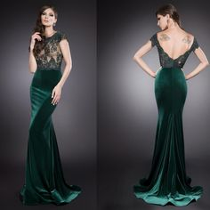 green velvet evening gown Lady M Velvet Evening Gown, Green Evening Gowns, Dark Green Prom Dresses, Green Dress, White Formal Gowns, Color Combinations For Clothes, Mermaid Evening Gown, Designer Evening Dresses, Outfit