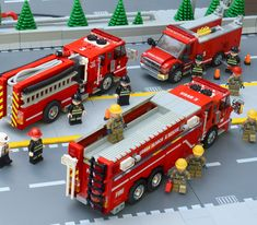 Fire trucks so cool, you could say they're on fire Lego Fire Urban Search and Rescue Task Force 3 Legos, Lego Plane, Lego Truck, Toy Trucks, Pickup Trucks, Custom Lego, Custom Trucks, Lego City, Miniatures