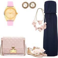outfit: navy tight-waist strapless maxidress, gold / pearl studs, pink-cream rose necklace, pink / gold watch, pink-cream handbag, nude / pink-cream rose sandals