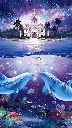Dolphins in Front of a Church. Dolphin Painting, Dolphin Art, Sea Life Art, Sea Art, Beautiful Sea Creatures, Animals Beautiful, Beautiful Nature Wallpaper, Beautiful Landscapes, Dolphin Photos