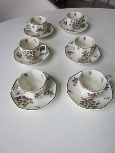 Royal Doulton Old Leeds Spray Demitasse Cups and Saucers Set of Six by MildredsBargains on Etsy