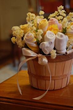 baby shower bouquets :) so cute!