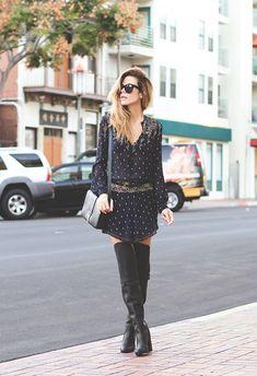 Etoile Isabel Marant dress, Phillip Lim boots, Saint Laurent bag