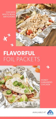 Simplify your summer dinner routine with these two easy tinfoil packet recipes! Both feature Signature Farms™ chicken breast and are perfect for your next summertime dinner party. Whether you love the spicy-sweet combination of the Tinfoil Honey-Habanero Seafood Recipes, Mexican Food Recipes, Chicken Recipes, Cooking Recipes, Healthy Recipes, Healthy Sweets, Cooking Ideas, Foil Packet Meals, Foil Packets