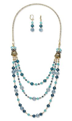 "Triple-Strand Necklace and Earring Set with Celestial Crystal® Beads, Czech Glass Beads and Antiqued Gold-Finished ""Pewter"" Cones"
