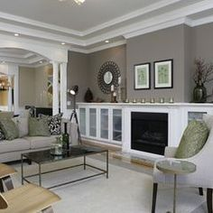 """I have a similar color in my great room and it was Sherwin Williams """"Mindful Gray"""". Comparing the two, the mindful gray is slightly warmer in tone Paint Colors For Living Room, Living Room Grey, Home Living Room, Living Spaces, Small Living, Living Area, Dining Room Paint, Contemporary Living, Modern Living"""