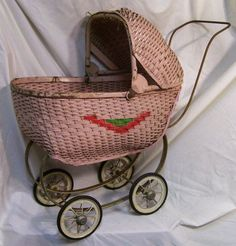 Antique Wicker Toy Baby Buggy from about 1925 [Toy . Vintage Pram, Vintage Dolls, Porcelain Dolls For Sale, Prams And Pushchairs, Dolls Prams, Baby Buggy, Baby Carriage, Old Dolls, Retro Toys