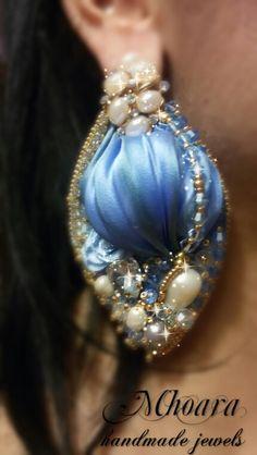 Shibori silk earrings 'Light Sapphire' MHOARA Handmade Italian Jewels