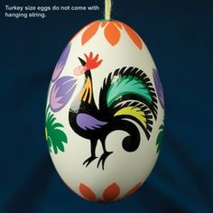 Real Eggs - Rooster Wycinanki Design Easter Eggs