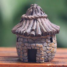 Varejo edifícios casa de fadas gnomos de jardim mini miniaturas musgo terrários estatuetas de resina artesanato para decoração de jardim(China (Mainland))