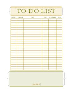 To Do List Template   College    Template Binder